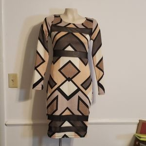 Fire Geometric Midi w/ Shear Mesh Cut Outs
